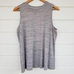 Gray Patterned Tank Top Knit Shell
